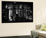 Wall Mural - Window View - Manhattan View with Times Square - New York by Night Seinämaalaus tekijänä Philippe Hugonnard