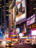 NYC Urban Scene with Yellow Taxis by Night - 42nd Street and Times Square - Manhattan - New York Stampa fotografica di Philippe Hugonnard