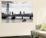 Wall Mural - The Millennium Wheel and Houses of Parliament - Hungerford Bridge and Big Ben Poster géant par Philippe Hugonnard