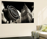 Wall Mural - Big Ben and Westminster Station Underground - Subway Station Sign - London - UK Mural por Philippe Hugonnard