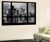 Wall Mural - Window View - Manhattan Skyscrapers at Night - New York Mural por Philippe Hugonnard
