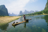 China Fisherman with Cormorant Birds on Li River Reproduction photographique
