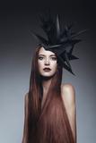 Female Model with Long Red Hair Stampa fotografica di Luis Beltran