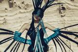 Female Model Wearing Feathers Stampa fotografica di Luis Beltran