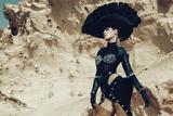 Female Model Wearing Black with Feathers Stampa fotografica di Luis Beltran