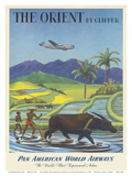 The Orient by Clipper, Boeing Stratocruiser flies over Asian Rice Paddy, Pan American World Airways Poster von Charles Baskerville