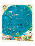 Map of the Polynesian Islands, Don the Beachcomber Tiki Bar and Restaurant Posters