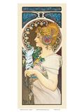 Feather, Art Nouveau, La Belle Époque Láminas por Alphonse Mucha