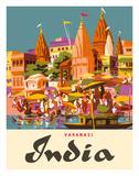 Varanasi India, Ganges River, (Banares, Banaras, Kashi) in Uttar Pradesh, Manikarnika Burning Ghat Impressão giclée por Charles Baskerville