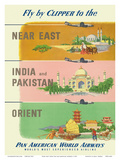 Fly by Clipper to Near East, India and Pakistan, Pan American World Airways Pôsteres