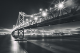 San Francisco Cityscape in Black and White, Bay Bridge Photographic Print by Vincent James