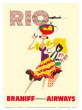 Rio de Janeiro, Brazil, Brazilian Drummer and Dancer with Castanets, Braniff International Airways Affiche