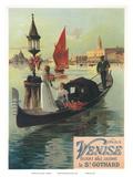 Venise par Saint Gothard, Venice, Italy, Gondolas Gondolieri, Art Nouveau, La Belle Époque Posters by Hugo D'Alesi
