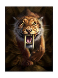 Full on View of a Saber-Toothed Tiger Poster