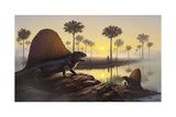 The Sailed-Back Dimetrodon Sunbathes in a Primordial Swamp Posters