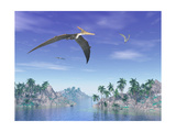 Pteranodon Birds Flying Above Islands with Palm Trees Stampe