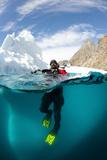 Diver in Front of an Iceberg, Astrolabe Island, Antarctic Peninsula, Antarctica Fotografie-Druck