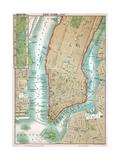 Map of Lower Manhattan and Central Park Impressão giclée