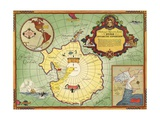 Authorized Map of the Second Byrd Antarctic Expedition Impressão giclée