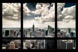 New York, fenêtre donnant sur gratte-ciels Affiches