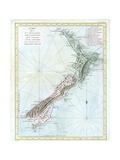 Map of New Zealand Giclée-Druck