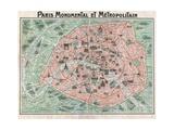 Mappa di Parigi Stampa giclée
