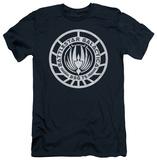 Battlestar Galactica - Scratched BSG Logo (slim fit) T-Shirt