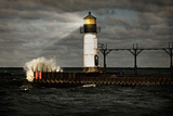Lighthouse and Stormy Sea Photographic Print by  soupstock