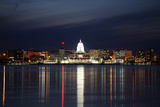 Skyline of Madison Wisconsin at Night Stretched Canvas Print by  soupstock