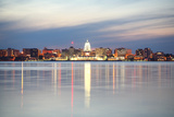 Skyline of Madison Wisconsin at Dusk Stretched Canvas Print by  soupstock