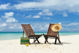 Beautiful Beach with Chaise Lounge Photographic Print by  haveseen
