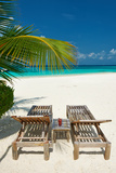 Beautiful Beach at Maldives with Chaise-Lounges Photographic Print by  haveseen