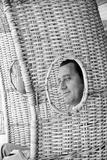 Alberto Sordi Through the Eyelet of a Wicker Armchair Fotografisk trykk av Marisa Rastellini