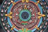 Carved and Painted Aztec Calendar Design Fotografie-Druck von Keren Su