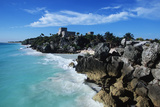 Mexico, Yucatan Peninsula, Carribean Sea at Tulum, the Only Mayan Ruin by Sea Reproduction photographique par Chris Cheadle