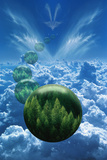 Tree Globes Floating over Clouds Photographic Print by Bill Ross