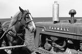 Horse and Tractor Fotografie-Druck von John Vachon