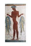 Greek Civilization Depicting Fisherman, from Akrotiri, Thera, Santorini, Greece Giclée-vedos