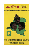 Poster Advertising the Fight Between Muhammad Ali and George Foreman in Zaire, 1974 Giclée-Druck