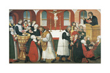 Martin Luther Preaching, Detail from the Altarpiece of the Church of Torslunde, 1561 Giclée-tryk