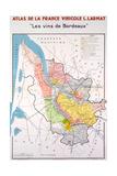 Map of the Bordeaux Region Reproduction procédé giclée
