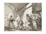 La Sacra Famiglia Esce Dalla Porta Di Una Citt Giclée-tryk af Giandomenico Tiepolo