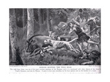 Romans Hunting Wild Boar Giclee Print by George Derville Rowlandson