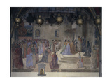 Procession of Bishop with Vial of Blood in Front of Church of St Augustine Giclée-tryk af Cosimo Rosselli