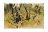 Forest with a Figure, the Study of a Fan Lámina giclée por Giovanni Fattori