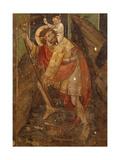 St Christopher, Fresco Giclée-tryk af Giacomo Jaquerio