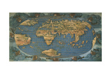 World Map on Oval Projection, Created in Florence Circa 1508 Giclee Print by Francesco Rosselli