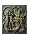 Triumphal Entry of Christ into Jerusalem, Gilded Bronze Panel Giclée-tryk af Lorenzo Ghiberti