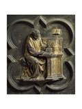 Church Father, Bronze Panel Giclée-tryk af Lorenzo Ghiberti