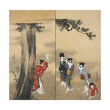 Paper Two-Fold Screen: a Shinto Priest Giclée-Druck von Katsushika Hokusai